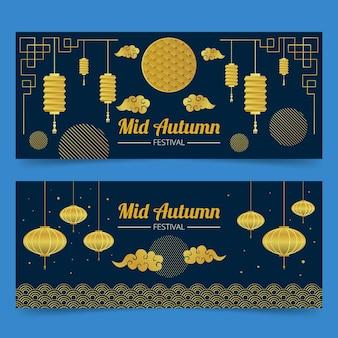 Ciemny i złoty sztandar w połowie jesieni