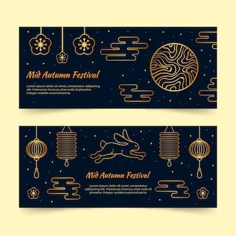 Ciemny i złoty zestaw bannerów w połowie jesieni