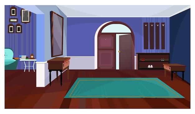 Ciemny korytarz z otwartymi drzwiami i dywanową ilustracją