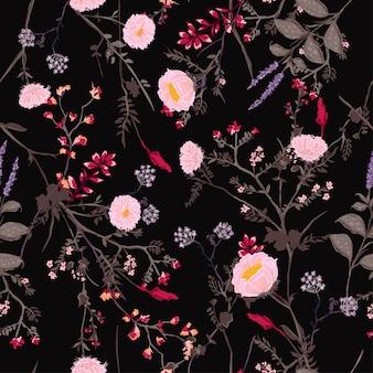 Ciemny kwiatowy wzór kwiatów tropical botanical
