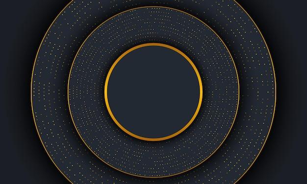Ciemny luksus koło tło ze złotymi liniami i kropką. ilustracja wektorowa.