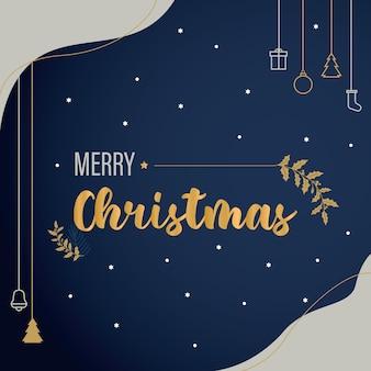Ciemny niebieski i złoty plakat świąteczny wektor