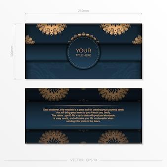 Ciemny niebieski szablon karty zaproszenie z indyjskim ornamentem. eleganckie i klasyczne elementy wektorowe gotowe do druku i typografii.