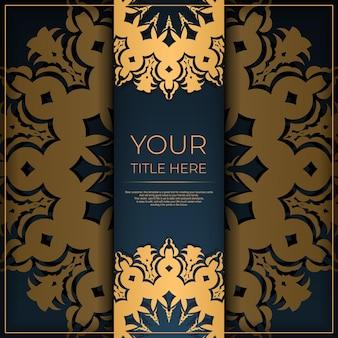 Ciemny niebieski szablon pocztówki z abstrakcyjnym ornamentem. eleganckie i klasyczne elementy wektorowe gotowe do druku i typografii.