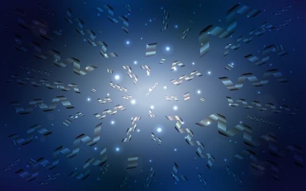 Ciemny niebieski szablon wektor z karnawałowe konfetti