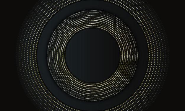 Ciemny okrąg nakładający się na złoty styl półtonów. zupełnie nowy projekt reklamy.