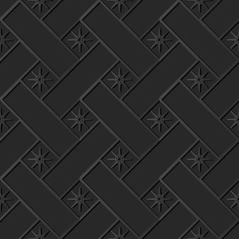 Ciemny papier sztuka cross check square geometry star flower, wektor stylowy wzór dekoracji w tle