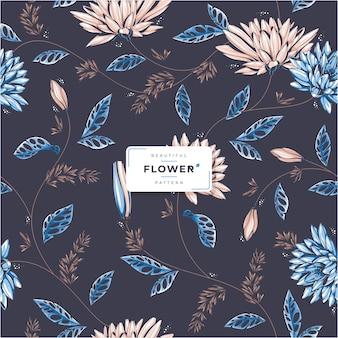 Ciemny piękny kwiat bez szwu wzór