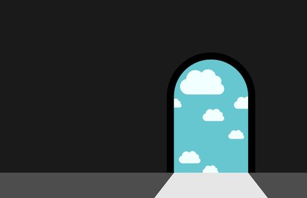 Ciemny pokój z drzwiami prowadzącymi do nieba z chmurami i jasnym światłem dziennym. koncepcja niebo, raj, sen, ciemność, wolność, nadzieja, wiara i religia. ilustracja wektorowa eps 8, bez przezroczystości