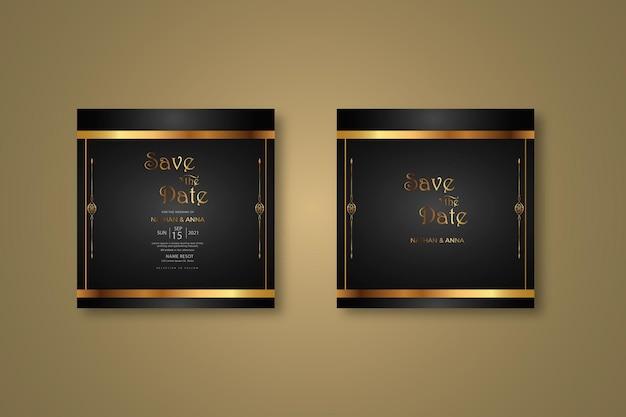 Ciemny projekt szablonu zaproszenia na ślub