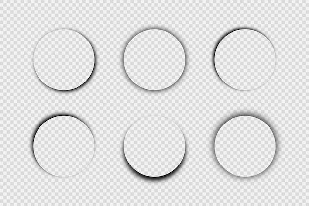 Ciemny przezroczysty realistyczny cień. zestaw sześciu okrągłych cieni na przezroczystym tle. ilustracja wektorowa.