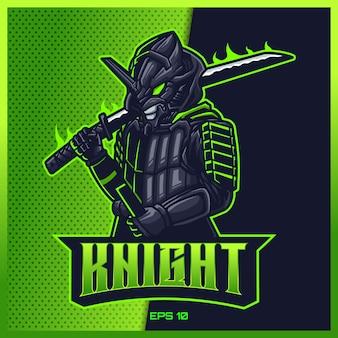 Ciemny samuraj chwycił projekt e-sportowego miecza i logo maskotki sportowej w nowoczesnej koncepcji ilustracji dla drukowania odznaki zespołu, godła i pragnienia. ilustracja ninja na jasnozielonym tle. ilustracja