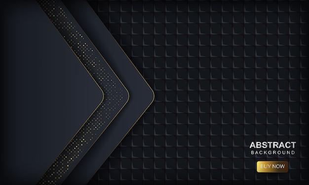 Ciemny streszczenie z niebieskimi nakładającymi się warstwami. tekstura ze złotymi brokatowymi kropkami i kwadratowym geometrycznym.