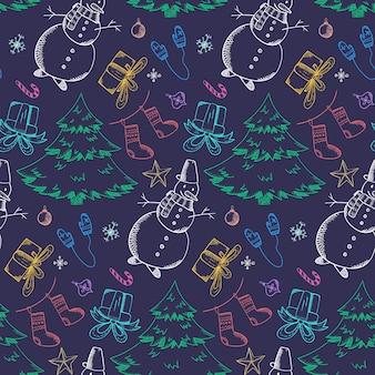 Ciemny świąteczny wzór z jasnymi gryzmołami konturowymi