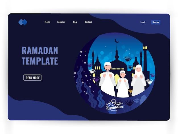 Ciemny szablon strony docelowej świętego miesiąca modlitwy, ramadan kareem.