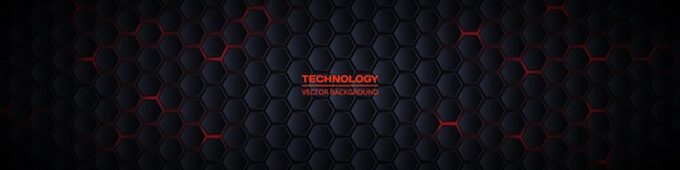 Ciemny szeroki sześciokątny transparent technologii abstrakcyjnej d