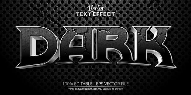 Ciemny tekst, efekt edytowalnego tekstu w błyszczącym srebrnym stylu na czarnym tle z teksturą