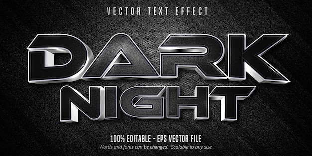 Ciemny tekst nocny, luksusowy srebrny edytowalny efekt tekstowy na tle czarnego płótna