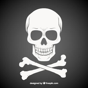 Ciemny wyciągnąć rękę czaszki tle