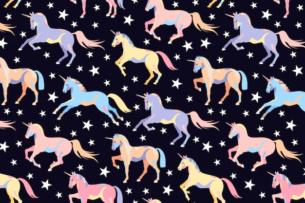 Ciemny wzór jednorożca. jednolity wzór jednorożca i gwiazdy. piękne magiczne konie. kucyk ilustracja dzieci. uruchamianie jednorożców. ręcznie rysowane projekt dla sieci i druku.