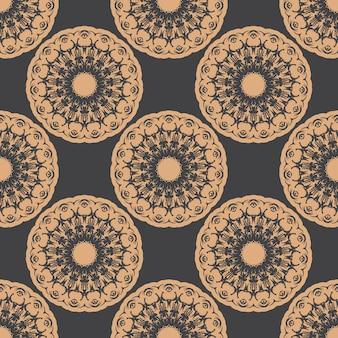 Ciemny zroszony wzór z rocznika ozdoby. tapeta w stylu vintage. indyjski kwiatowy element. ozdoba graficzna na tapetę, tkaninę, opakowanie.