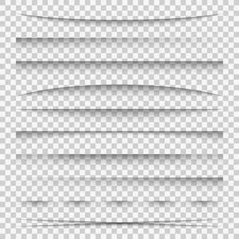 Cień linii. zakładki rozdzielające papier linie internetowe łamią ramkę realistyczne przezroczyste cienie szablon boczny pasek krawędzi zestaw ramek