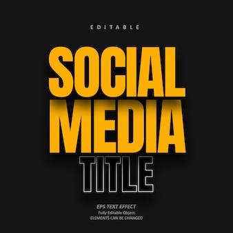 Cień media społecznościowe żółty efekt tekstowy edytowalny premium