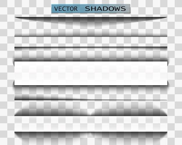 Cień. realistyczna ilustracja przezroczysty cień. separator strony z przezroczystym cieniem. zestaw stron.