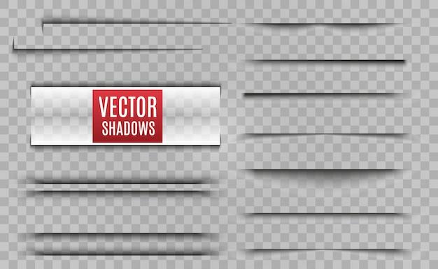 Cienie na białym tle. realistyczna ilustracja przezroczysty cień. separator strony z przezroczystymi cieniami na białym tle. zestaw stron.