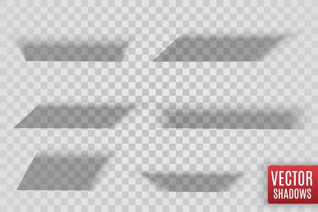Cienie na białym tle. realistyczna ilustracja przezroczysty cień.