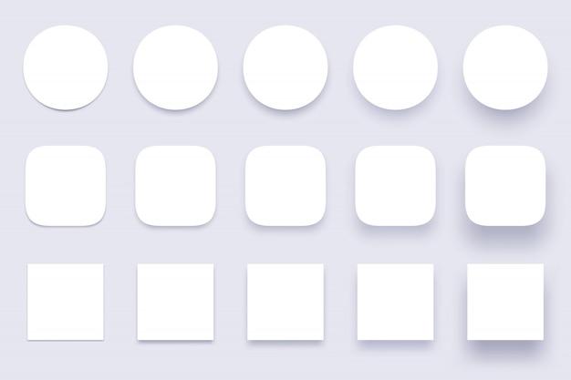 Cienie przycisków, prosty kształt cienia, wyraźne guziki odznaki i różne kształty cienie materiału na białym tle 3d realistyczny zestaw