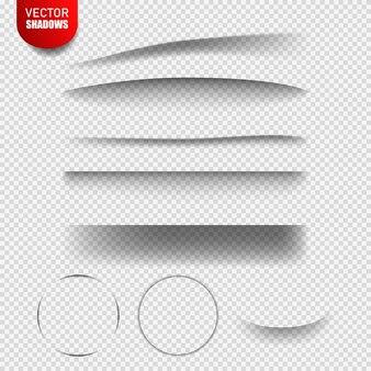 Cienie wektorowe na białym tle. elementy projektu wektor linie podziału zestaw efektów cienia. realistyczny ilustracja przejrzysty cień