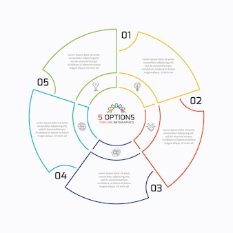 Cienka linia infographic wykres kołowy szablon z pięcioma opcjami.