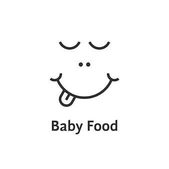 Cienka linia logo żywności dla niemowląt. koncepcja opieki rodzicielskiej, identyfikacja wizualna, formuła dla niemowląt, zabawa, rozwój dziecka. na białym tle. styl liniowy trend nowoczesny design marki ilustracji wektorowych