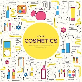 Cienka linia makijażu narzędzia nowoczesna koncepcja ilustracji