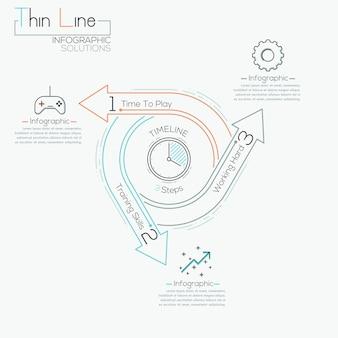 Cienka linia minimalna strzałka cyklu biznesowego infographic szablon
