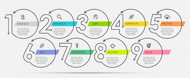Cienka linia minimalny szablon projektu infographic z ikonami i 9 opcji lub kroków.