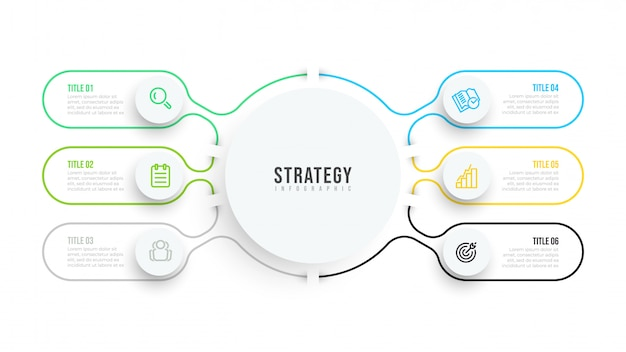 Cienka linia płaski plansza szablon. projekt wizualizacji danych biznesowych z ikonami i 6 opcjami lub krokami.