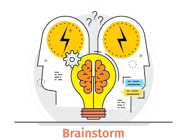 Cienka linia płaski projekt koncepcji burzy mózgów