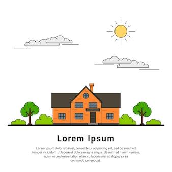 Cienka linia prywatnego domku z drzewami, chmurami i słońcem, domem jednorodzinnym, koncepcją branży nieruchomości i budownictwa