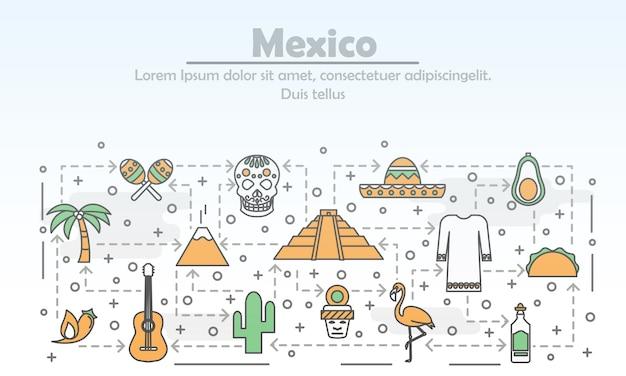 Cienka linia sztuki meksyku plakat