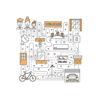 Cienka linia sztuki mieszkania plakat szablon transparent