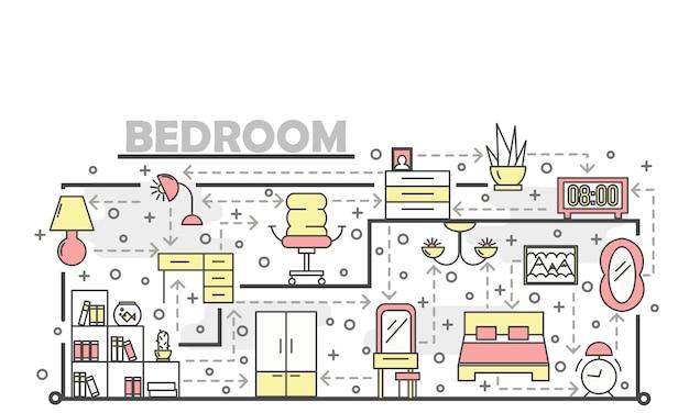 Cienka linia sztuki sypialni plakat szablon transparent