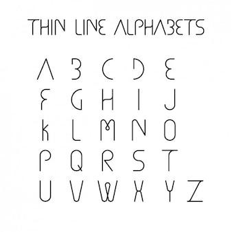 Cienka linia wzór alfabetu