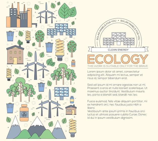 Cienka linia zasobów naturalnych nowoczesna koncepcja ilustracji