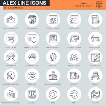 Cienka linia zestaw ikon zakupy online i e-commerce