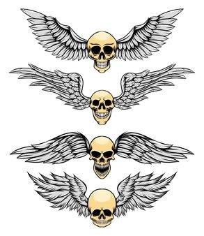 Cienka ludzka czaszka ze srebrnym skrzydłem jako logo inspiracji ilustracji