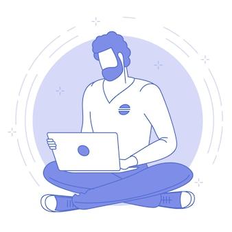 Cienka niebieska ikona najlepszego miejsca do pracy zdalnej.