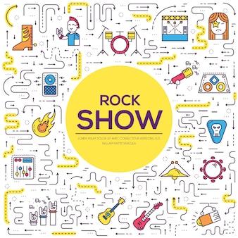Cienka scena liniowa z różnymi instancjami muzycznymi i sprzętem do platerowania rock'n'rolla