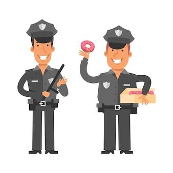 Cienki policjant trzymający policyjną pałkę gruby policjant trzymający pączek znaków wektorowych